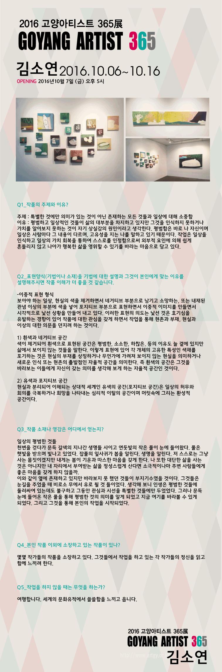 [2016 고양아티스트 365展] 김소연 작가 인터뷰