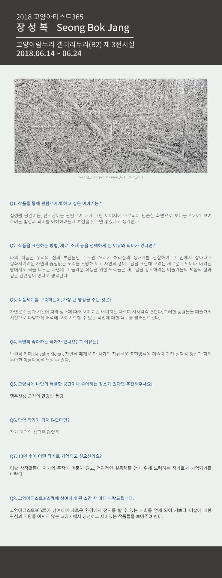 [2018 고양아티스트365展] - 장성복작가QNA