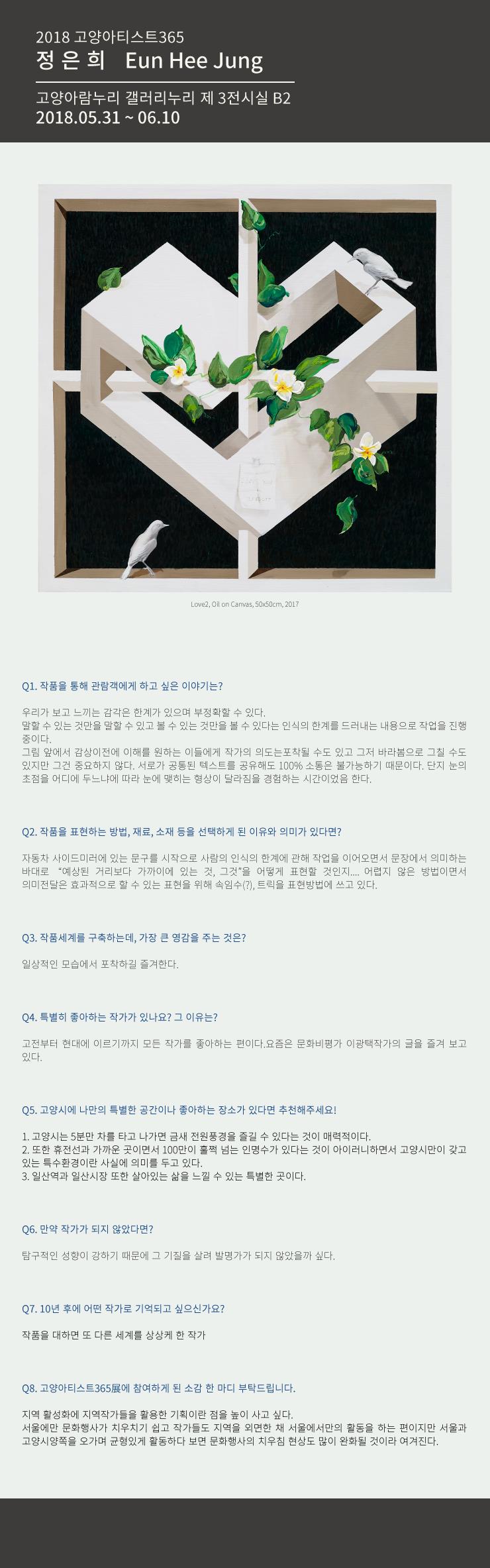 [2018 고양아티스트365 展] - 정은희작가 QNA